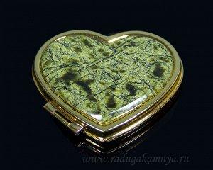 Зеркало с накладкой из змеевика сердце 70*68*10мм, золотистое