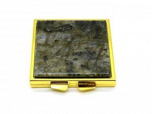 Зеркало с накладкой из лабрадора квадратное 60*67*10мм, золотистое