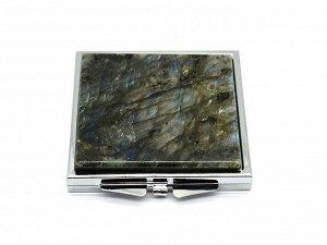 Зеркало с накладкой из лабрадора квадратное 60*67*10мм, серебристое