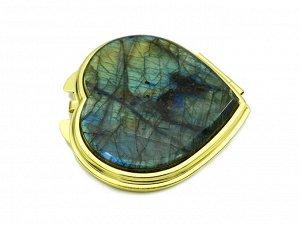 Зеркало с накладкой из лабрадора сердце 70*68*10мм, золотистое