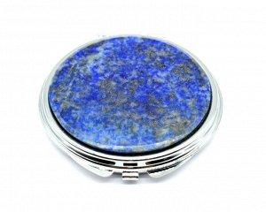 Зеркало с накладкой из лазурита афганского круглое 60*66*10мм, серебристое