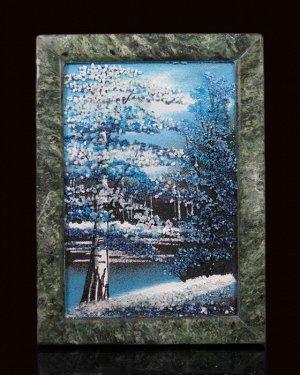 Каменное панно №1 зима вертикально 13*18см, 500гр