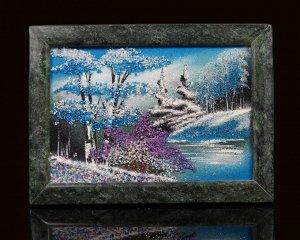 Каменное панно №1 зима горизонтально 18*13см, 500гр
