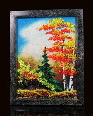 Каменное панно №2 осень  вертикально 18*23см, вес 880гр