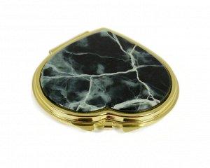 Зеркало с накладкой из офита сердце 70*68*10мм, золотистое