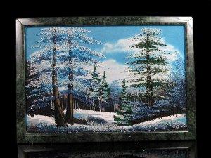 Каменное панно №3 зима горизонтально 33,5*23см, 1350гр