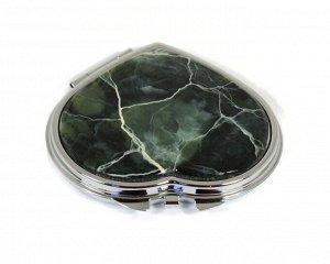 Зеркало с накладкой из офита сердце 70*68*10мм, серебристое