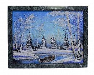 Каменное панно №4 зима, лодочка горизонтально 43,5*33,5см, 3900гр