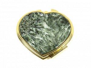 Зеркало с накладкой из серафинита сердце 70*68*10мм, золотистое