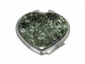 Зеркало с накладкой из серафинита сердце 70*68*10мм, серебристое