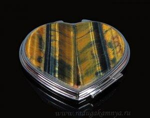Зеркало с накладкой из тигрового глаза сердце 70*68*12мм, серебристое