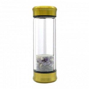 Бутылка для воды с галтовкой аметист 70*70*200мм.