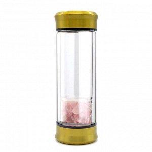 Бутылка для воды с галтовкой розовый кварц 70*70*200мм.