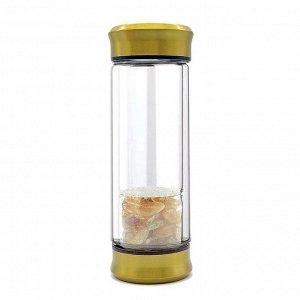 Бутылка для воды с галтовкой цитрин 70*70*200мм.