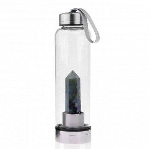 Бутылка для воды с кристаллом лабрадора 70*70*250мм.