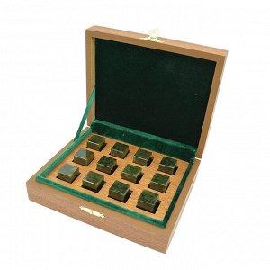 Камни для виски в подарочной упаковке 12 кубиков из нефрита