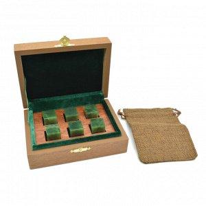 Камни для виски в подарочной упаковке 6 кубиков из нефрита