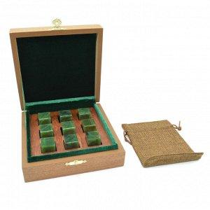 Камни для виски в подарочной упаковке 9 кубиков из нефрита
