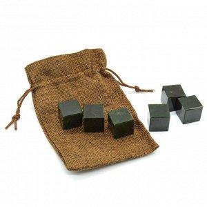 Камни для виски в холщевом мешочке 6 кубиков из нефрита