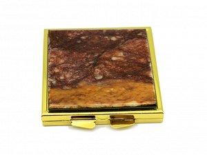 Зеркало с накладкой из авантюрина квадратное 60*67*10мм, золотистое