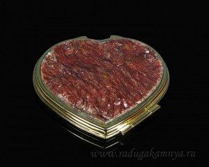 Зеркало с накладкой из авантюрина сердце 70*68*10мм, золотистое