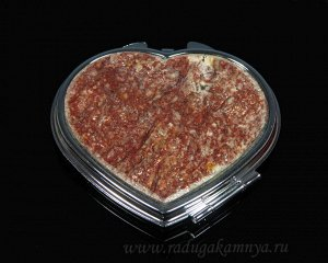 Зеркало с накладкой из авантюрина сердце 70*68*10мм, серебристое