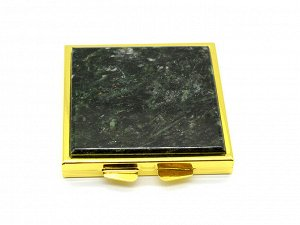 Зеркало с накладкой из актинолита квадрат 60*66*11мм, золотистое