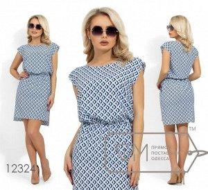 Платье-шемиза из стрейч вискозы с резинкой на талии, вырезом-лодочкой и разрезами на разноуровневом подоле 12324 от Фабрика Моды