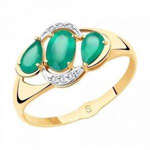 Кольцо из золота с зелёным агатом арт к-2052