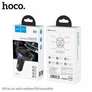 Автомобильное зарядное устройство HOCO E41, 2*USB + FM-трансмиттер, 2.1A, черный, дисплей