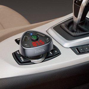 Автомобильное зарядное устройство HOCO E51 Road treasure, 2*USB+USB Type -C + FM-трансмиттер, 3.1A, 18 Вт, черный, Bluetooth