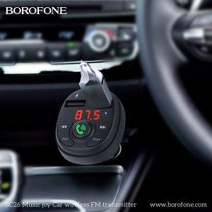 Автомобильное зарядное устройство BOROFONE BC26 Music joy, 2*USB + FM-тансмиттер, 2.1A, черный, дисплей,Bluetooth,FM/SD