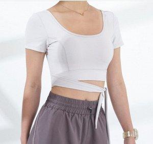 Женский спортивный топ с завязками, цвет белый