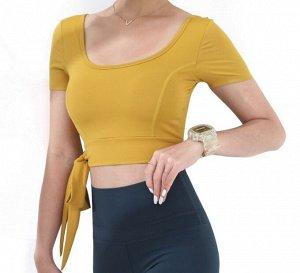 Женский спортивный топ с завязками, цвет горчичный