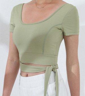 Женский спортивный топ с завязками, цвет зеленый