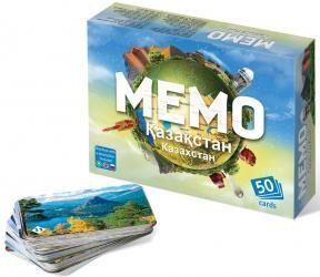 Настольная игра Мемо Казахстан (в комплекте 3 книги: русский, казахский, английский)