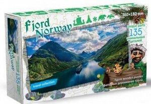 Фигурный деревянный пазл Фьорды НорвегияTravel collection
