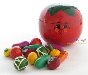 Игрушечный набор Овощи деревянные в помидоре (Р-45/785)