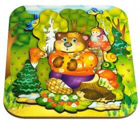 Фигурный деревянный пазл для малышей Маша и Медведь 19 дет (8287)