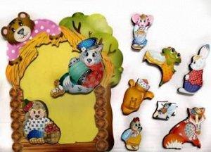 Фигурный деревянный пазл для малышей Теремок 9 дет