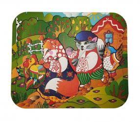 Деревянный пазл на подложке Кот, Петух и Лиса