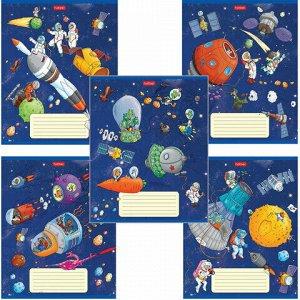 """Тетрадь 18 л. HATBER клетка, обложка картон, """"Космическое приключение"""" (5 видов в спайке),18Т5В1"""