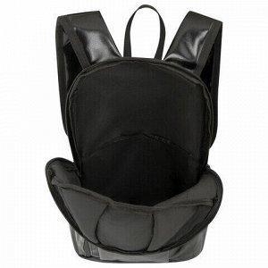 "Рюкзак STAFF FASHION AIR компактный, блестящий, ""DВИЖ"", черный, 40х23х11 см, 270299"