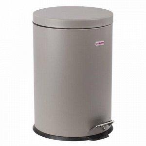 """Ведро-контейнер для мусора (урна) с педалью LAIMA """"Classic"""", 20 л, серое, матовое, металл, со съемным внутренним ведром, 604946"""