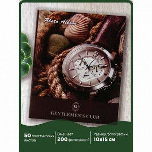 """Фотоальбом BRAUBERG на 200 фотографий 10х15 см, твердая обложка, """"Часы"""", коричневый, 390667"""