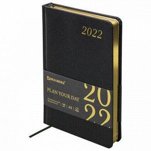 """Ежедневник датированный 2022 А5 138x213 мм BRAUBERG """"Iguana"""", под кожу, черный, 112752"""