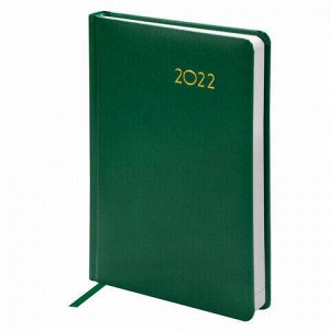 "Ежедневник датированный 2022 А5 138x213 мм BRAUBERG ""Select"", балакрон, зеленый, 112774"