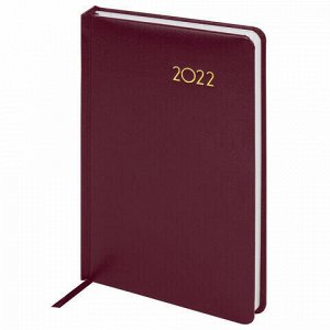 """Ежедневник датированный 2022 А5 138x213 мм BRAUBERG """"Select"""", балакрон, бордовый, 112775"""