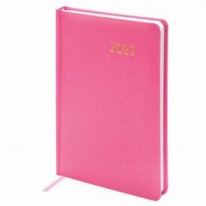 "Ежедневник датированный 2022 А5 138x213 мм BRAUBERG ""Select"", балакрон, розовый, 112780"
