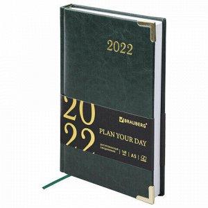 """Ежедневник датированный 2022 А5 138x213 мм BRAUBERG """"Senator"""", под кожу, зеленый, 112783"""